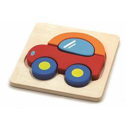 Drvene puzzle 5 dijelova - autić