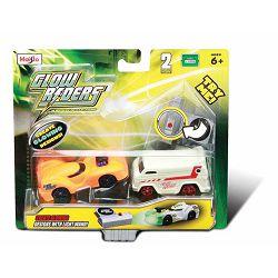 Glow Rider-2 metalna autića koja svijetle u mraku, 7 cm, sor