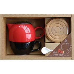 Set za čaj crveno-crni