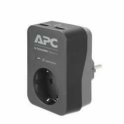 APC Essential SurgeArrest 1 Outlet 2 USB Ports Black 230V Germany