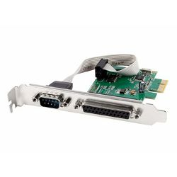 Gembird COM serial port LPT port PCI-Express add-on card, with extra low-profile bracket