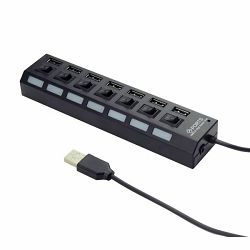Gembird USB 2.0 powered 7-port hub with switches, black