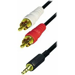 Transmedia Cable 2x RCA-plug - 3,5 mm stereo gold plugs, 1,5m