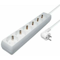 Transmedia 6-way power strip, 5,0 m cable, White